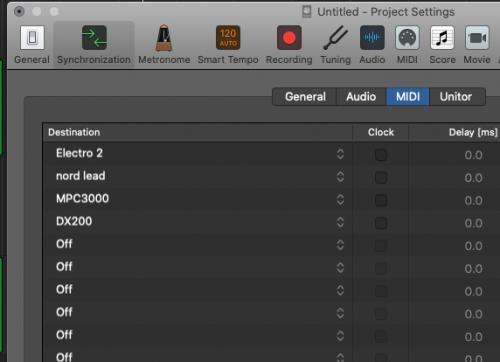 Logic Pro X Projects > Synchronize > MIDI > Destination